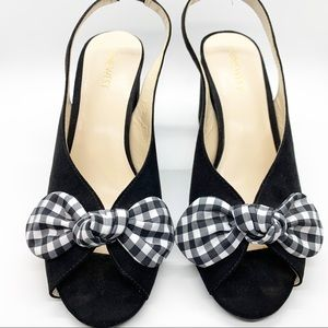 Nine West Gingham Bow Gaerwen Heel sz 7 1/2